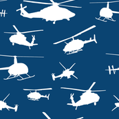 Helicopter Silhouettes - Blue