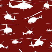 Helicopter Silhouettes - Red