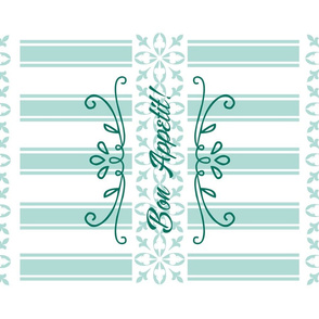 Bon Appetit Striped Tea Towel - Green