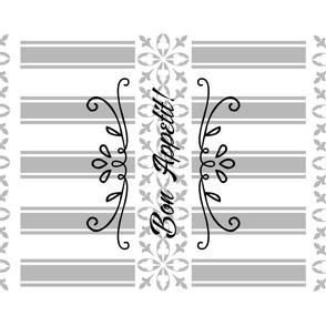 Bon Appetit Striped Tea Towel - Black