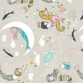 Mermaid Lullaby (pastel) SMALL railroad