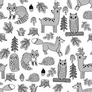 autumn critters // grey woodland creatures animals andrea lauren design andrea lauren fabric owl fox hedgie raccoons cute animals