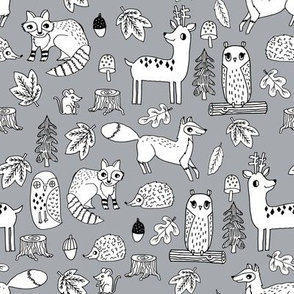 autumn critters // woodland animals andrea lauren fabric mouse owl hedgie fox fawn deer andrea lauren fabrics andrea lauren design