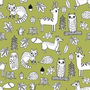 autumn critters // woodland animals cute fox raccoons owls andrea lauren fabric nursery baby fabric lime nursery design
