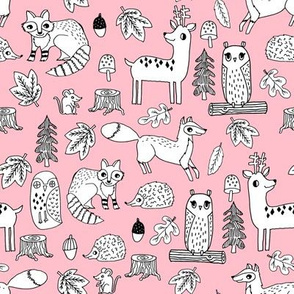 autumn critters // pink nursery fabric woodland animals cute hedgie owls deer nursery baby fabric cute woodland animals design