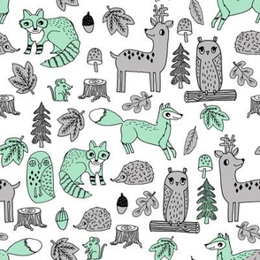 autumn woodland // woodland critters grey and mint fabric baby nursery design andrea lauren fabric andrea lauren baby design