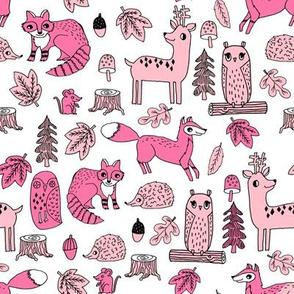 autumn critters // pink woodland animals baby nursery design owl woodland fabrics