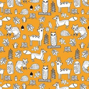autumn animals // critters woodland fox deer raccoon woodland animals nursery fabric