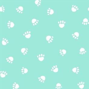 aqua paw print fabric, pet fabric, dog fabric, cat fabric