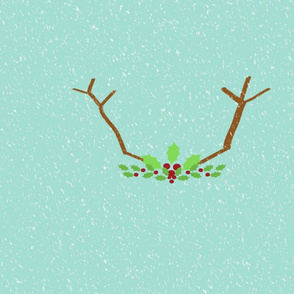 Antlers and holly  21-seafoam snow