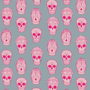 Sugar Skulls Pink and Gray