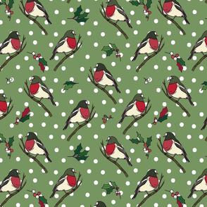 Winter Birds Sage Green