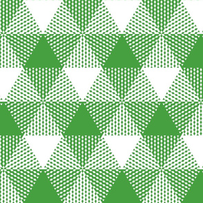 Christmas tree triangle plaid - green and white