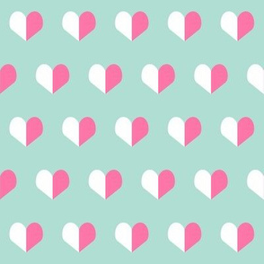 pink and mint hearts valentines fabric valentine heart fabric