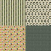 """Folk Floral Green 54"""" Fat Quarters_Miss Chiff Designs"""