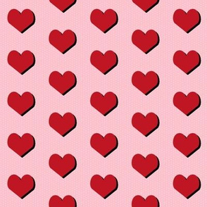 hearts red valentines love design heart fabric