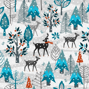 Winter Snow Woodland Animals