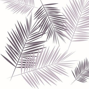 Palm leaves - lavender purple on white palm tree, tropical summer