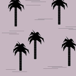 palm tree - black on lavender tropical trees summer palm leaves