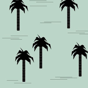 Palm trees - black on mint tropical trees summer || by sunny afternoon