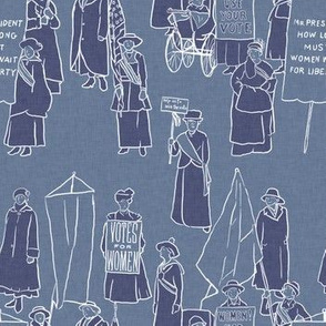 Suffragettes on Blue