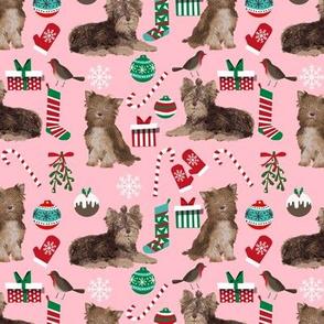 chocolate yorkie fabric christmas design chocolate yorkies design dogs fabric