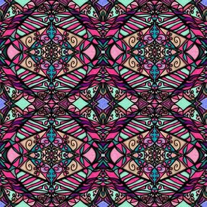 Stained Glass | Project 188 | Pink Purple Teal Zebra Stripe