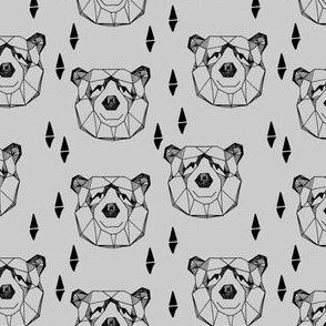 geometric bear head // grey bear face bear head geometric design nursery baby grey bears
