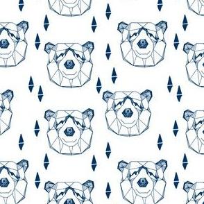 bear head // geometric bear head navy blue and white bear design nursery baby boy fabric