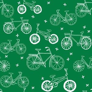 bicycles // bike fabric kelly green bicycles design andrea lauren hand-drawn illustration andrea lauren fabric bicycle print pattern
