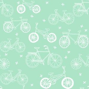 bicycles // mint green bike fabric cycle fabric hand-drawn illustration bike fabric
