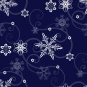 Snowflakes dark blue