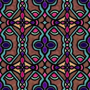 Stained Glass | Project 180 | Pink Teal Purple on Rust