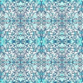 Project 182 | Zentangle | Blue Heart Filigree