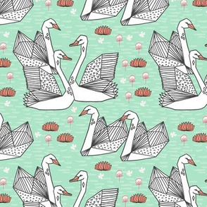 swan // origami swans coral and mint swan fabric girls swans design sweet swans fabric andrea lauren design