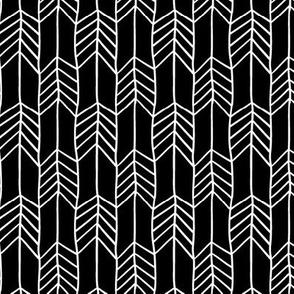 Black and White Arrow Chevron Feathers