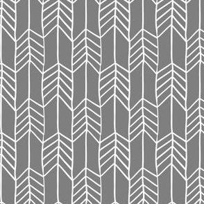 Grey and White Arrow Chevron Feathers