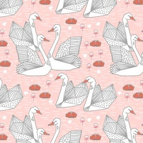 swans // origami swan fabric cute blush and coral girls swan fabric andrea lauren design andrea lauren fabric