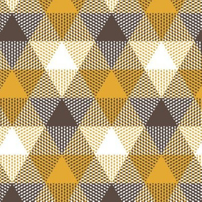 triangle gingham - brown, white and mustard