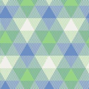 triangle gingham - light blue, light green, pearl grey