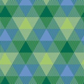 triangle gingham - green, light blue, light green