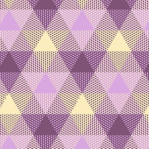 twilight triangle gingham - mauve, lavender and cream
