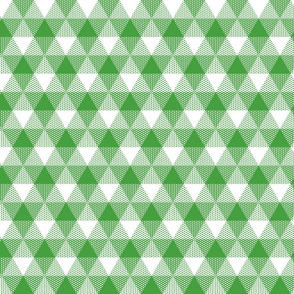 Christmas tree triangle gingham - green and white