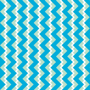 Chevron nested two frequency white-mint-teal