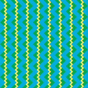 Chevron nested two frequency yellow-mint-teal
