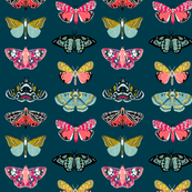 moths // moth butterflies butterfly fabric navy botanical nature andrea lauren design andrea lauren fabric