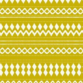 Monochrome tribal aztec indian summer ethnic print ochre yellow