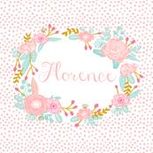 "custom name block - fits 8"" square - girls custom name fabric"