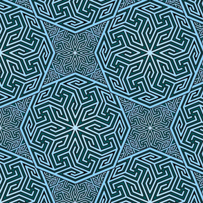 Arabic Abstract in teal and blue