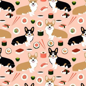 corgi sushi fabric corgis design tri colored corgi fabric dogs fabric food design corgi fabric